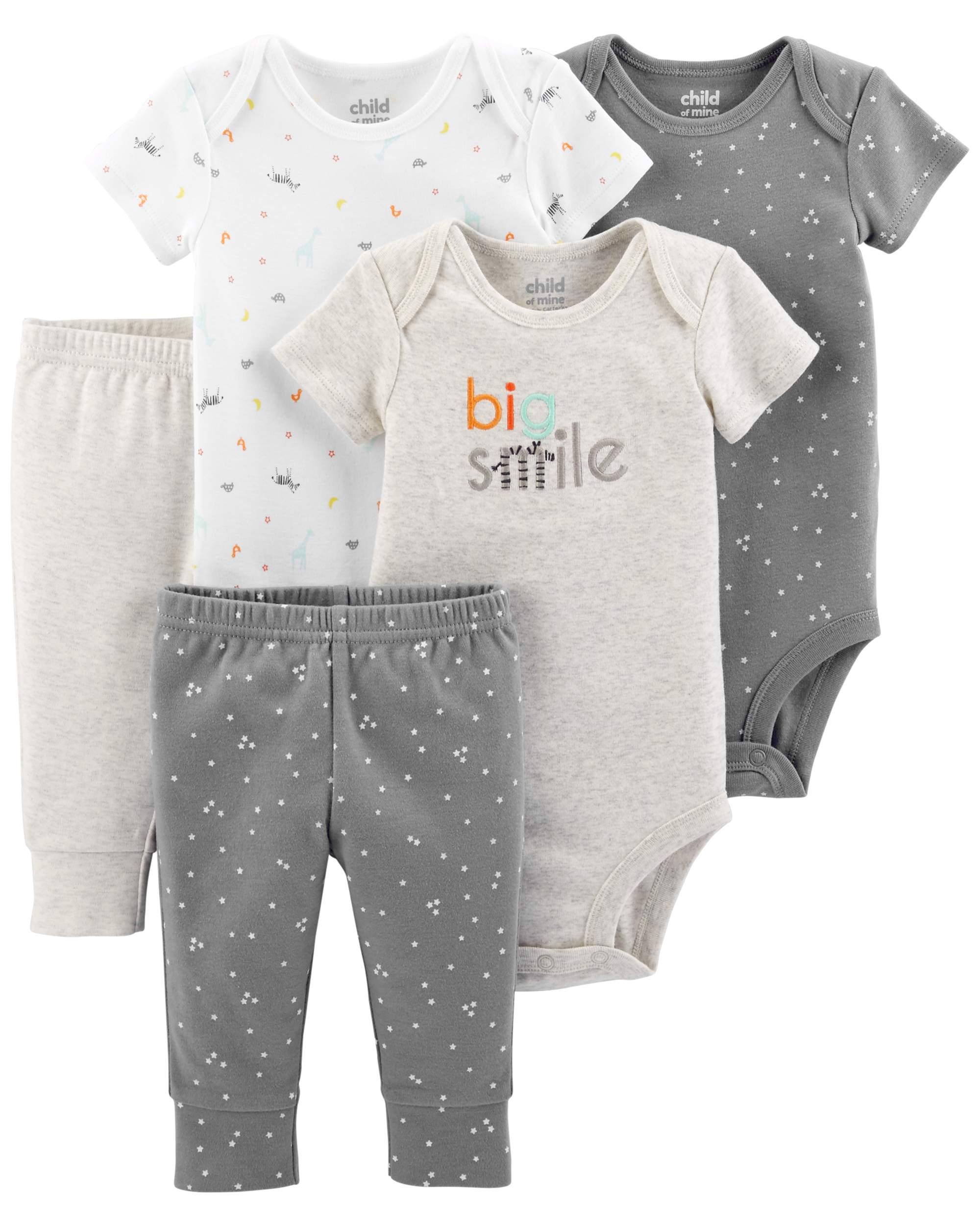 9ba94f689 Baby's Fashion (0-2years Short Sleeve Bodysuits & Pants, 5pc Set (Baby Boys  or Baby Girls Unisex)