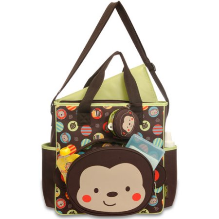 Product Id 4470 Baby Boom Tote Diaper Bag With Changing Pad Monkey